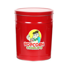 Solid Red 3 1/2-Gallon Popcorn Tin With Three Flavors Of Popcorn That You Choose From Our Combo Options