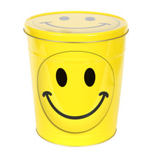 Smile Face 3 1/2-Gallon Popcorn Tin With Three Flavors Of Popcorn That You Choose From Our Combo Options
