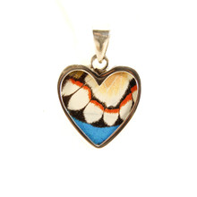 real butterfly wing pendant necklace soaring heart front