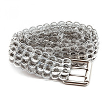 soda tab belt with 3 rows of tabs in silver