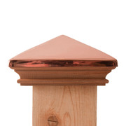 West Indies Miterless Post Cap™ base with copper pyramid lid. Also called New England Style, the base is a Miterless design with NO Joints and the lid is a copper pyramid made of the thickest copper on the market. Put them together for a beautiful fence post top that will last a lifetime.