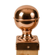 100% Copper Finial Globes with Slip Over Base Post Caps. Base and finial ship separately to ensure quality and protection. Multiple sizes available. Protects and improves the look of any yard investment and lasts a lifetime. Guaranteed for life never to split at the corners! That's a promise other post cap manufacturers can't make.