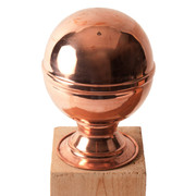 100% Copper Finial Globe with No Base screws into the top of your fence post and offers moderate protection from end grain wood rot. Protects and improves the look of any yard investment and lasts a lifetime. Two sizes available fitting posts measuring 4x4 to 6x6.