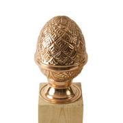 100% Copper Finial Pineapple with No Base screws into the top of your fence post and offers moderate protection from end grain wood rot. Protects and improves the look of any yard investment and lasts a lifetime. Two sizes available fitting posts measuring 4x4 to 6x6.