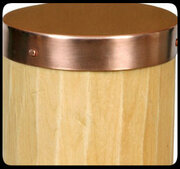 Detail of Round Copper Post Cap. 20 gauge thick copper.