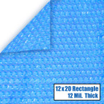 12' x 20' Rectangle Blue Solar Cover 12 Mil 5 Year Warranty