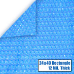 24' x 40' Rectangle Blue Solar Cover 12 Mil 5 Year Warranty