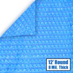 12' Round Blue Solar Cover 8 Mil 3 Year Warranty