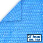 33' Round Blue Solar Cover 8 Mil 3 Year Warranty