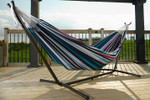 Vivere Brazilian Style Double Hammock with 9 ft. Stand - Denim
