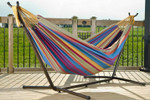 Vivere Brazilian Style Double Hammock with 9 ft. Stand - Tropical