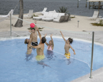 """DunnRite Deck Volly Regulation Pool Volleyball Set with 2 3/8"""" Post"""