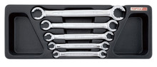 5 pc Flare nut wrench set, satin finish with tray