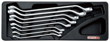 8pc, 45 degree offset, double ring wrench set with tray.