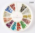 TNS Round Metal Beads Nail Art Wheel 240PCS (12 Metallic Colours) (2MM)