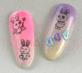 Cute Bunny Rabbit Water Nail Decals - Great for Easter! 22PCS Per Sheet