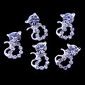 TNS Professional Nail Art Charms - Silver & Cystal Cat Charms (Pack of 5PCS)