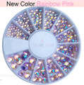 Rainbow Pink AB Flatback Crystal Rhinestone Wheel - 240PCS (1mm-5mm)