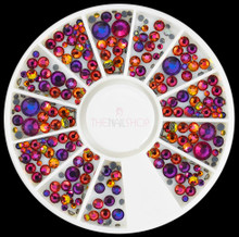 NEW Chameleon Red AB Crystal Flatback Rhinestone Wheel for Nail Art - 240PCS (1mm-5mm)