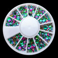 Crystal Vitrail Medium Flatback Round Rhinestone Nail Art Wheel - Golden Fuchsia & Green Tones (240PCS)