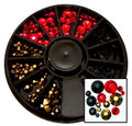 Red, Gold & Black Flatback Round Rhinestone Crystal Nail Art Wheel - (240PCS)