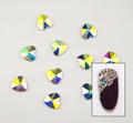 Large Clear AB Glass Heart Flat Back Rhinestones for Nail Art (10PCS Per Bag) - 6mm X 6mm