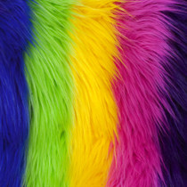 Rainbow Striped Shag Faux Fur