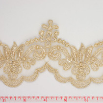 Gold Beaded and Sequined Lace Trim