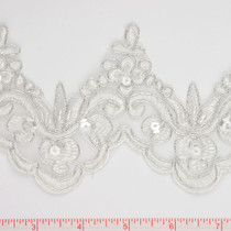 Silver Beaded and Sequined Lace Trim