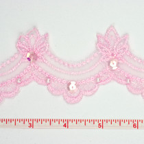 Pink Sequined Lace Trim