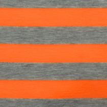 "Orange and Gray 1"" Striped Jersey Knit Fabric"