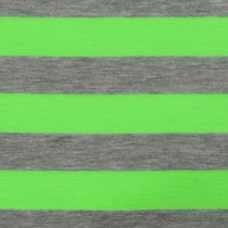 "Green and Gray 1"" Striped Jersey Knit Fabric"