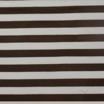 "Brown and Ivory 1/2"" Striped Poly/Rayon/Lycra Knit"