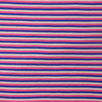 "Pink, Blue, and White 1/8"" Striped Knit Fabric"