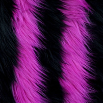 Pink and Black Striped Shag Faux Fur Fabric
