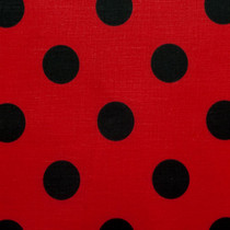 "Red and Black 1"" Polka Dot Poly/Cotton Print Fabric"