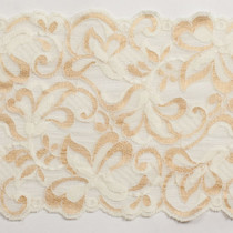 "Ivory and Gold 6"" Stretch Lace Trim"