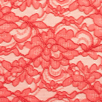 Bright Coral Designer Re-Embroidered Lace Fabric - Close-up to show detail