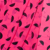 Black Umbrellas on Neon Pink Chiffon Print Fabric