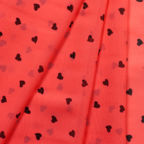 Mini Black Hearts on Neon Orange Chiffon Print Fabric