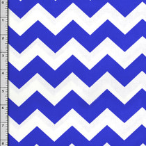 Blue and White Chevron Cotton Print Fabric