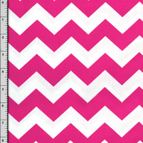 Hot Pink and White Chevron Cotton Print Fabric