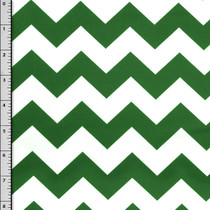 Emerald Green and White Chevron Cotton Print