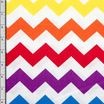 Rainbow Chevron on White Cotton Print Fabric