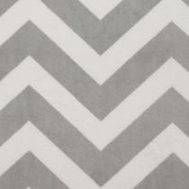 Grey and White Chevron Print Cuddle Fur Fabric
