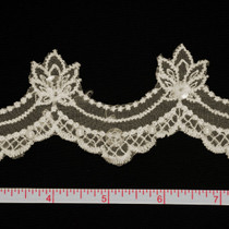 Ivory Sequined Lace Trim