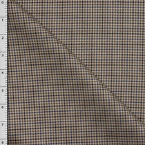 Tan Houndstoth Plaid Designer Wool Suiting Fabric