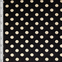 Black Textured Dot Cotton Print Fabric by David Textiles