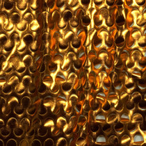 Deep Gold Laser Cut Lycra Lame 4-way Stretch Fabric