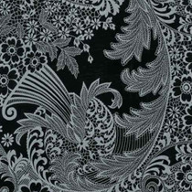 """Paradise Lace"" Silver on Black Oilcloth"